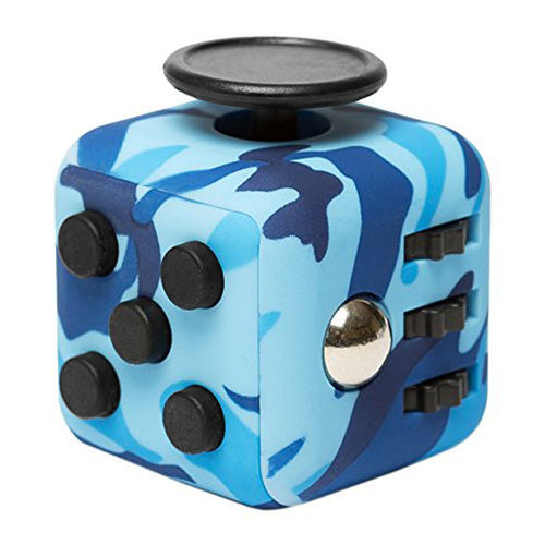 Fidget Cube - Anti-Stress & Anxiety Reliever Play Toy - Blue Camouflage